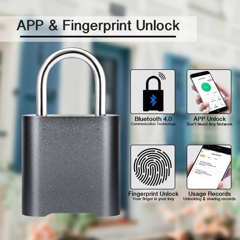KERUI Smart Keyless Fingerprint Padlock Waterproof APP Bluetooth Fingerprint Unlock USB Rechargeable Door Luggage Case Lock