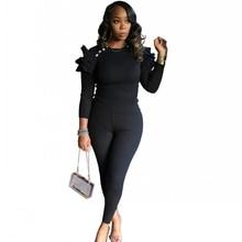 Sets Lounge-Wear Pencil-Pants Spring Ruffles 2piece-Set Outfits Tops Long-Sleeve Fashion