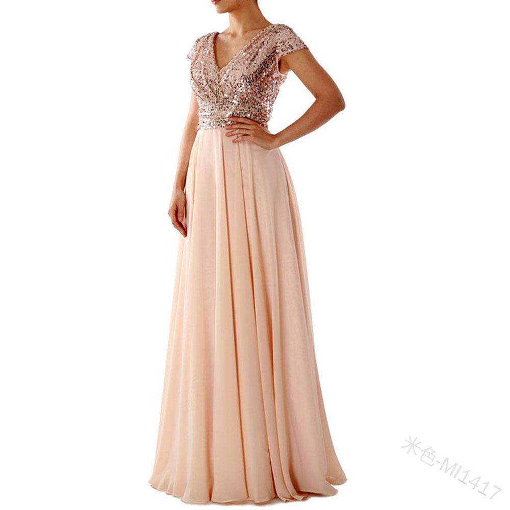 Women Dressbeige V Neck Cap Sleeves Evening Dress A Line Sequins Floor Length Draped Purple Wedding Party Formal Evening Dresses