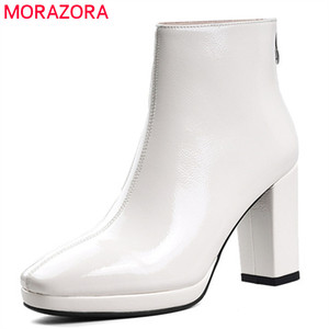 Image 1 - MORAZORA 2020 new arrival women ankle boots patent leather square toe autumn boots zip simple high heels shoes woman black