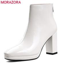 Morazora 2020 新到着の女性の足首のブーツパテント革スクエアトゥ秋ブーツシンプルなハイヒールの靴女性黒