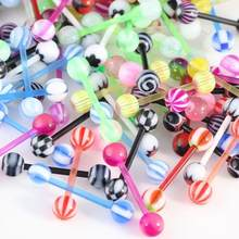 10pcs Mix Style Barbell Bar Tongue Piercing Rings Stainless Steel Mixed Candy Colors Men Women Body Jewelry(China)
