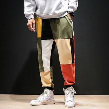 hip hop Patchwork Color Harem Pants Men 2020 Mens Streetwear Casual Joggers Pants Male Autumn Vintage Cotton Sweatpants guo chao tang 2019 new autumn irregularity color patchwork printed plaid men shirts hip hop casual ribbon male shirt streetwear