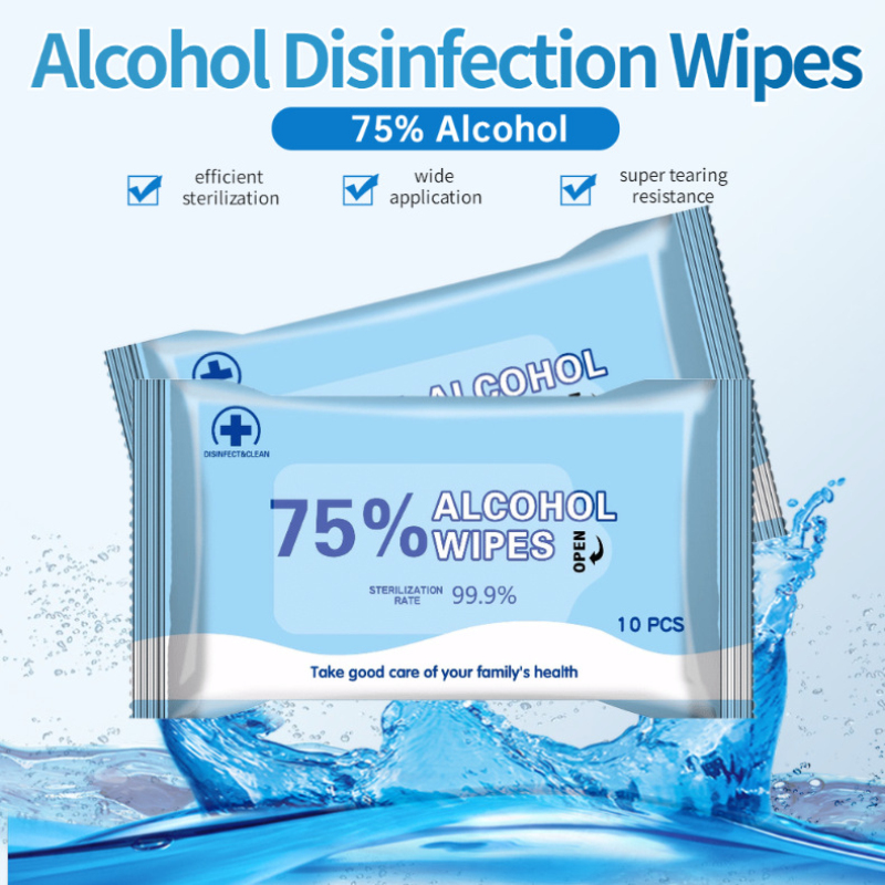 10 Pc/pack Disinfection Wipes 75% Alcohol Cleaning Wet Wipes Sterilization Antiseptic Pads Portable Cotton Sheet Wipes TSLM1