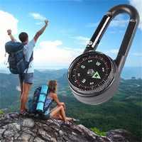 2019 multifunktionale 3-in-1 Wandern Metall Karabiner Kompass + Thermometer + Snap Haken outdoor camping bergsteigen schnalle