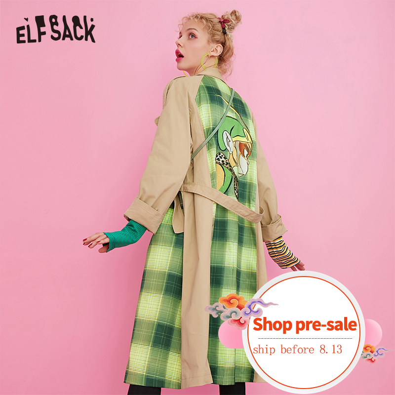 ELF SACK Cartoon Embroidery Plaid Patchwork Women   Trench   Coat 2019 Autumn New Korean Casual Straight Female Outwear