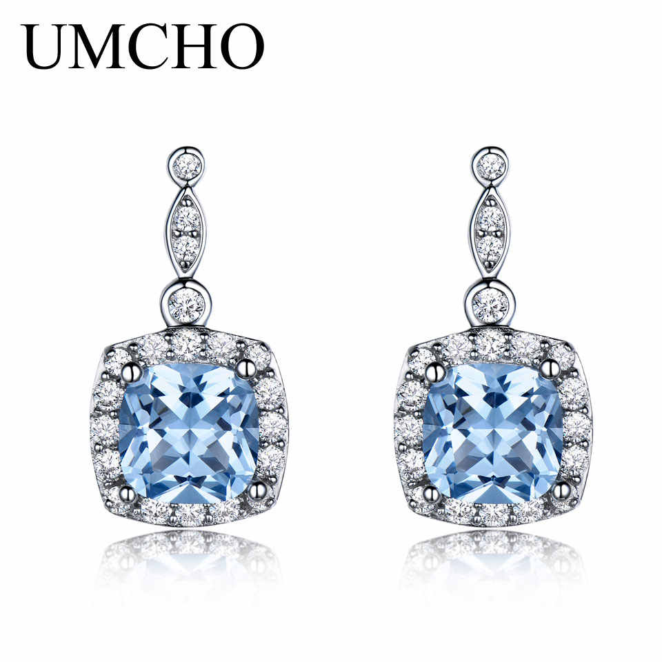 UMCHO Solid 925 Sterling Silver Drop Earrings For Women Sky Blue Topaz Gemstone Fine Jewelry Christmas Party Gift Fine Jewelry