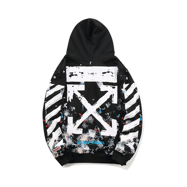 19SS OFF-WHITE OW Fireworks Arrow Couple WHITE Men Women streetwear Fashion pure Cotton SportsCasual hoodie coat