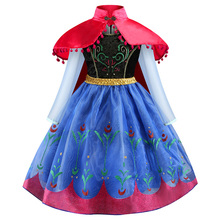 High Quality Cartoon Cosplay Anna elsa jurk Girls Princess Dress long sleeve Party Fancy Costume Baby Dresses Children Clothes