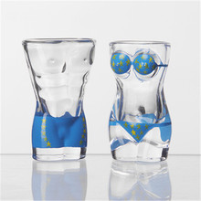 Creative Glass Water Painted Bottle Beautiful people Wine Glasses High Borosilicate Transparent Decorative