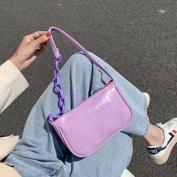 2020 New Leather Women's Handbags Ladies Handbag Female Stone Pattern Fashion Baguette Hand Bag Shoulder Bags Vintage Trunk Bag