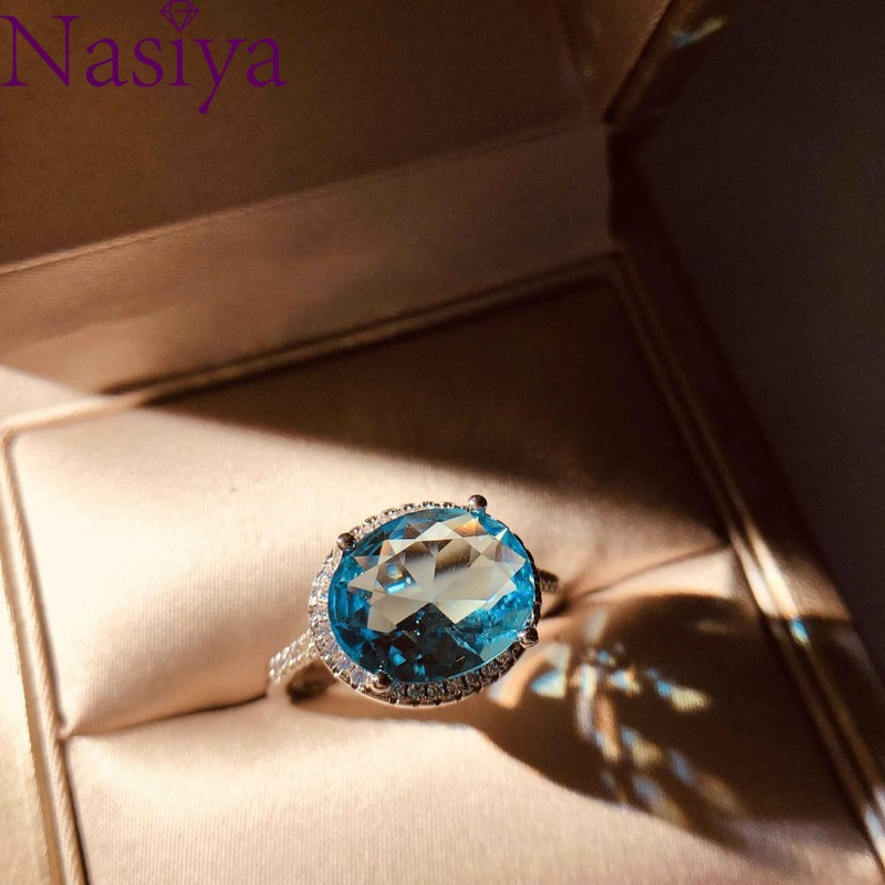 Beautiful Aquamarine Blue Zircon Ring 925 Silver Ring For women fine jewelry Finger Ring