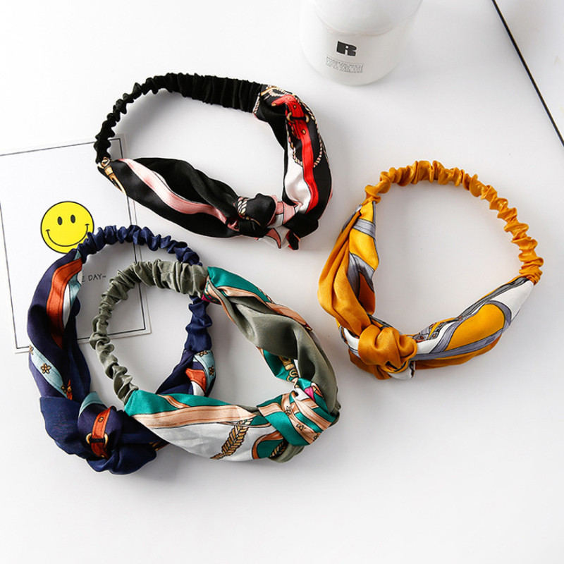 Retro Style Two-color Stitching Cross Knotted Chinese Knotted Bandwidth Side Wild Headband Hair Accessories Vintage Knot Elastic