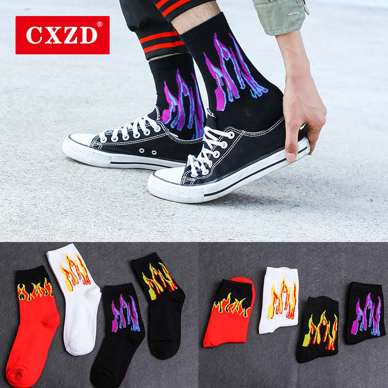 CXZD Men's Fashion Hip Hop Color Fire Crew Socks Red Flame Flame Power Torch Hot Warm Street Skateboard Cotton Long Socks