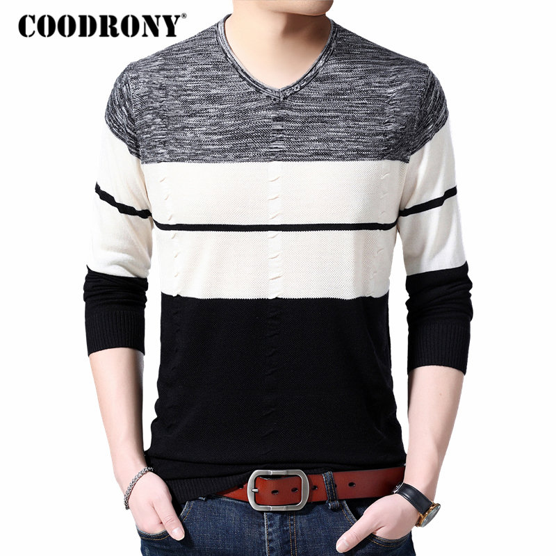 COODRONY Brand Sweater Men Knitwear Shirt Pull Homme Streetwear Casual Striped V-Neck Pullover Men Autumn Winter Sweaters 91052