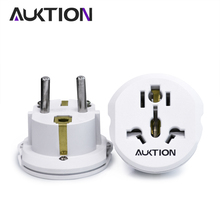 AUKTION 16A Universal EU(Europe) Converter Adapter 250V AC Travel Charger Wall Power Plug Socket Adapter High Quality Tools
