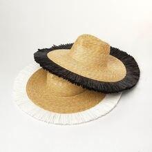 Классическая соломенная шляпа с бахромой широкими полями пляж