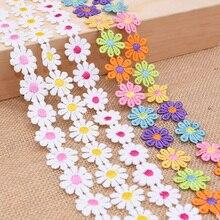 3дворы 25мм красочные Дейзи цветок кружевной отделкой вязать свадебные вышитые DIY ручной работы пэчворк ленты швейные принадлежности ремесла
