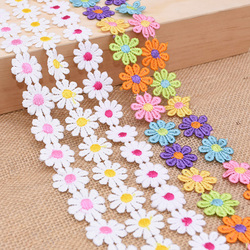 3Yards 25mm Colorful Daisy Flower Lace Trim Knitting Wedding Embroidered Diy Handmade Patchwork Ribbon Sewing Supplies Crafts