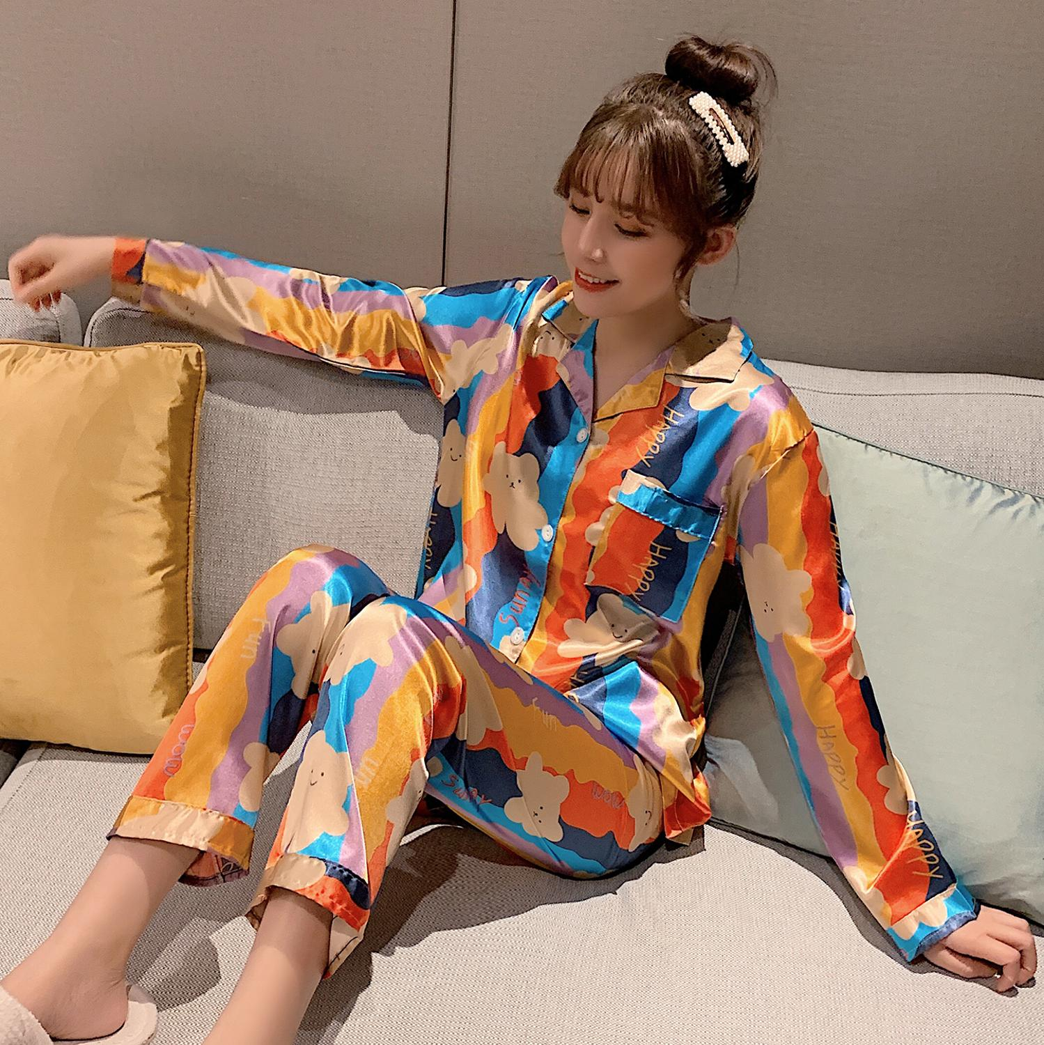 2020 Spring Summer Silk Pajama Sets For Women Long Sleeve&Pants 2 Pcs Loose Comfortabl Home Wear Good Quality Pyjamas