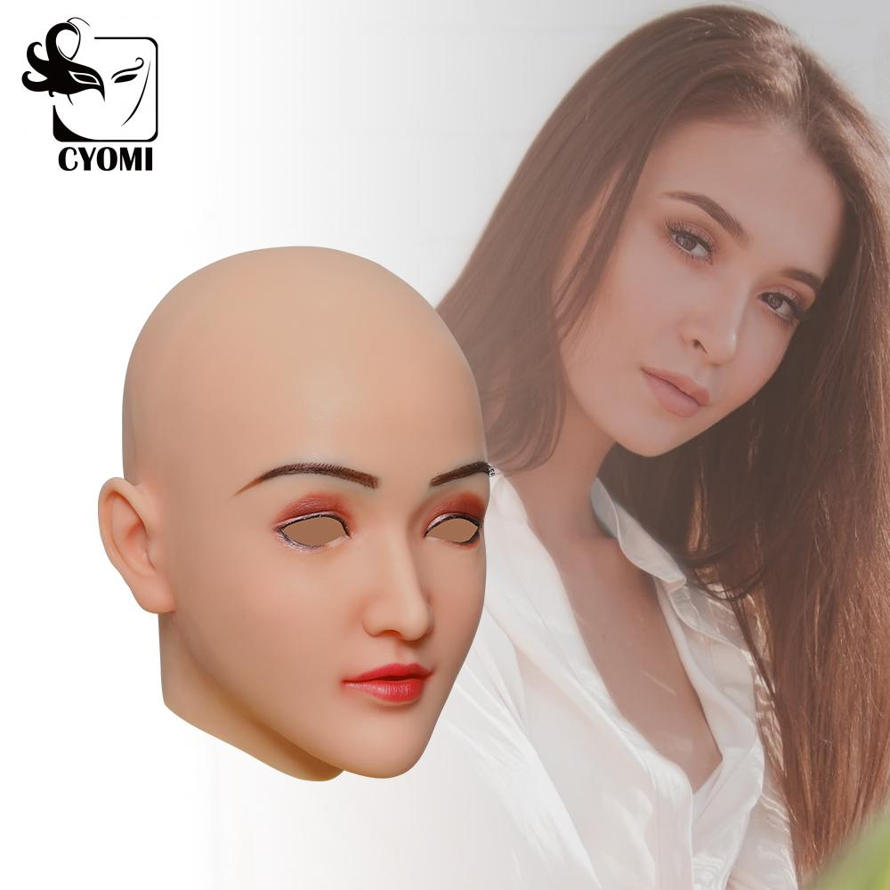 CYOMI Transgender Soft Shy Girl Clare Style Silicone Head Face Male to Female Cosplay Costumes for Crossdresser shemale