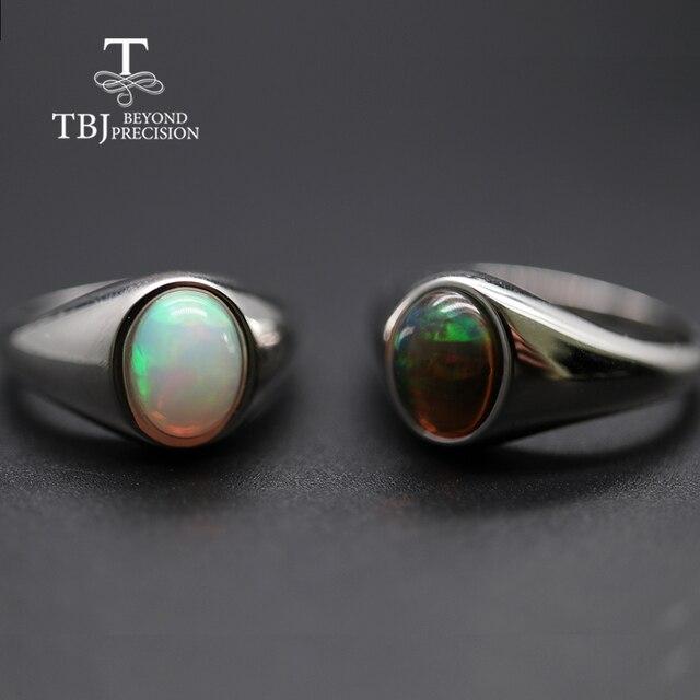แหวนโอปอลธรรมชาติรูปไข่ 7*9 มม.แหวนพลอยหญิง Elegant เครื่องประดับ 925 เงินสเตอร์ลิง tbj โปรโมชั่น