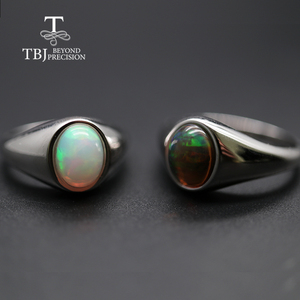 Image 1 - natural Opal Ring oval 7*9mm gemstone women Ring simple elegant fine jewelry 925 sterling silver  tbj promotion