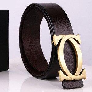 Image 3 - CDF 2020 Designer cinture uomo donna tendenza di alta qualità marchio di lusso fibbia liscia cintura in vera pelle Casual Cinto Kemer