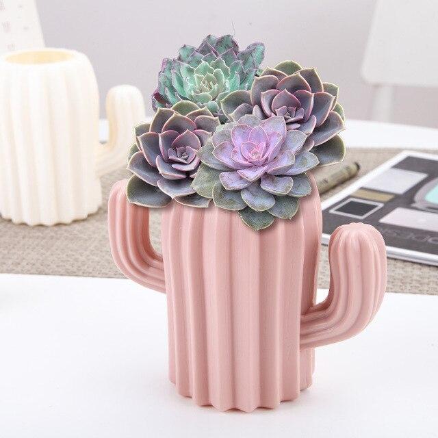 Plastic Vase Home Decoration European Anti-ceramic Cactus Wedding Decoration Unbreakable Creative Pen Holder Storage Box 1