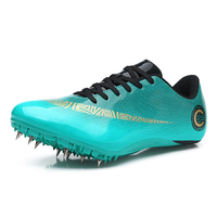 Green Blue Gym Shoes Men Track & Field Shoes Light Run Trainers Male Spikes Sneakers Unisex Racing Sport Shoes 35 45