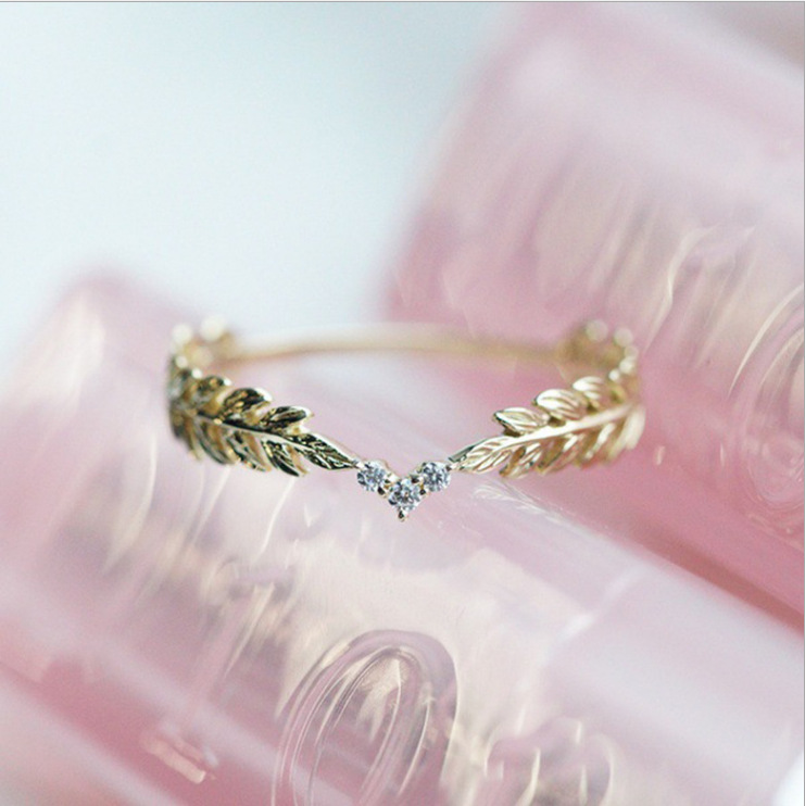New Style Hipster Plated 18 K Gold Leaves Diamond Set Ring Europe And America Ear of Rice Feather Rings