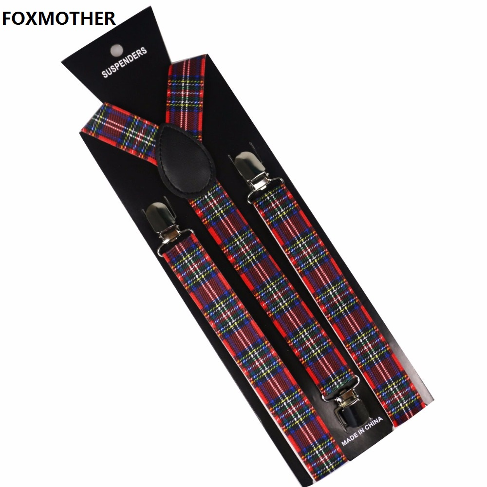 FOXMOTHER Mens Women Suspenders Red Plaids Clips On Y-Back Braces Elastic