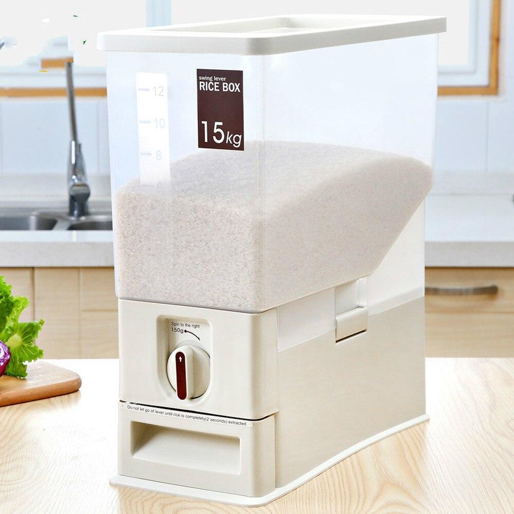 Baril de riz ménage boîte de riz étanche à l'humidité en plastique 15kg dosage automatique 30 kg boîte de rangement de cylindre de riz WF816511