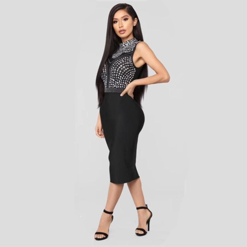 Sexy Bodycon Sheath Women Party Dress Luxury Hand-beaded Crystal Rivet Deco Knee-length Pencil Dress Fashion Women Dress