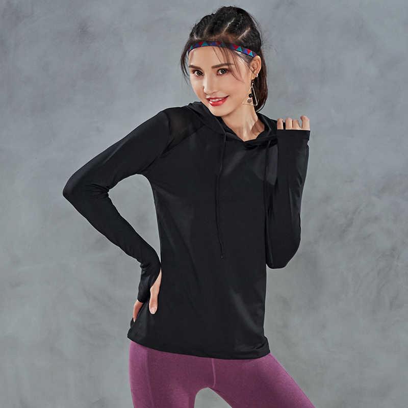 Sport Sweatshirt Vrouwen Hooded Trekkoord Yoga Top Workout Running Trui Jas Lange Mouw Duim Gat Fitness Gym Sportkleding