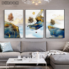 Abstract Golden Landscape Canvas Poster Wall Art Flying Bird Elk Print Modern Style Painting Nordic Home Decoration Picture