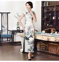 XL summer short sleeved blue and white porcelain long cheongsam Slim thin qipao dress Chinese style retro Tang suit cheongsam