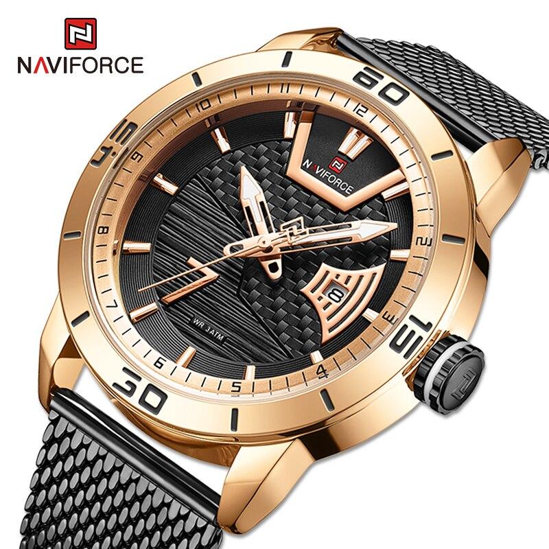 Часы наручные NAVIFORCE Мужские кварцевые, роскошные брендовые водонепроницаемые из нержавеющей стали, в стиле милитари, спортивные с календар...