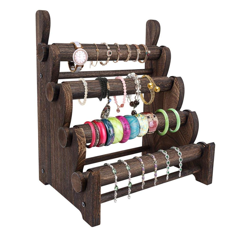 4 Tier Wooden Bracelet Holder, Bangle Watch Necklace Display Storage Jewelry Holder Stand Display Organizer