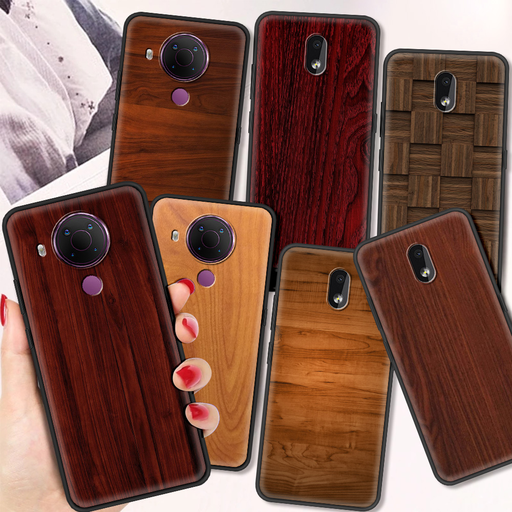 WOOD Texture Luxury Silicone Cover For Nokia 2.2 2.3 3.2 4.2 7.2 1.3 5.3 8.3 5G 2.4 3.4 C3 1.4 5.4