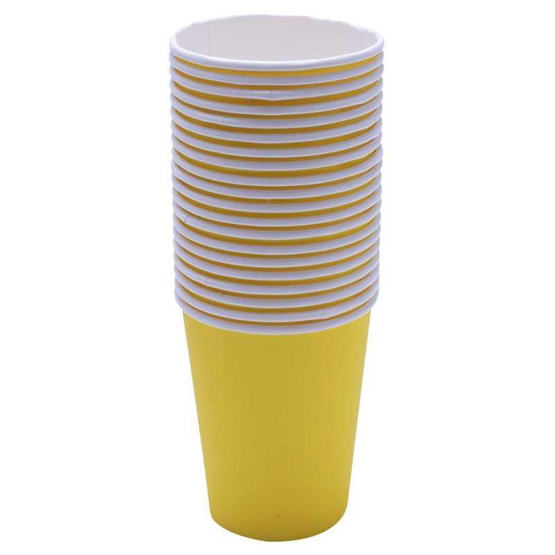 40 kağıt bardaklar (9 Oz)-düz katı renkler doğum günü partisi sofra ikram (siyah ve sarı)