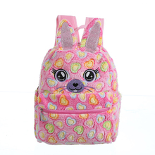 Student Winter Rabbit Heart Plush Bag Women Large Soft Fur Zipper Backpack Girl Preppy Style Color Faux Cartoon School