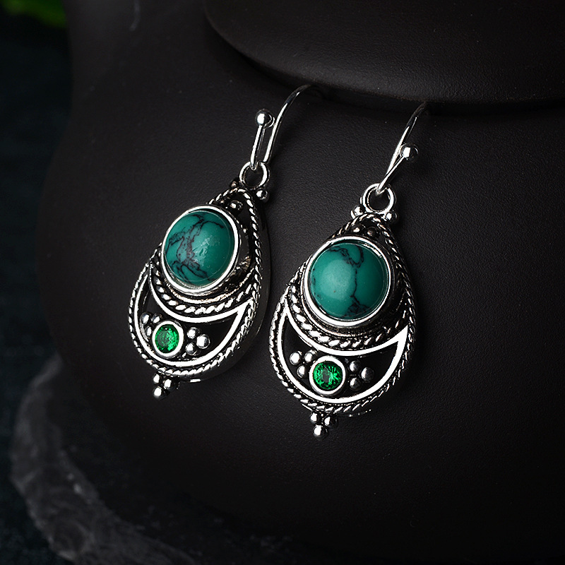 925 Vintage Thai Silver Turquoise Earrings for Women Festival Birthday Gift Jewelry