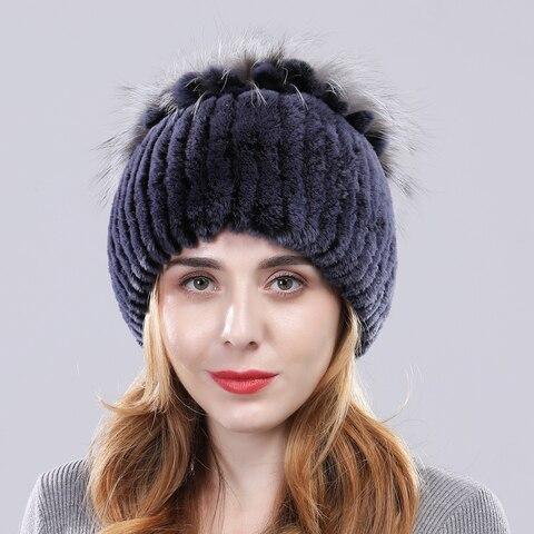 Winter Warm Genuine Rex Rabbit Fur Hat Women 100%Natural Real Rex Rabbit Hat Good Elastic Knitd Rabbit Fur Caps Free Shipping Islamabad