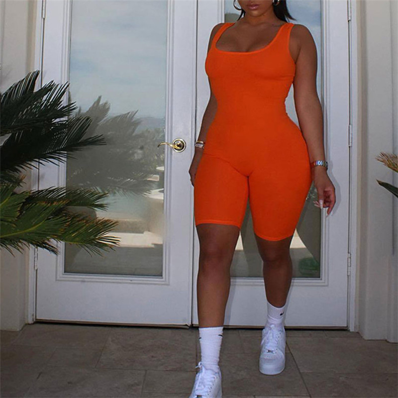 New Bodycon Pants Short Jumpsuits Women Party Rompers Jumpsuits Sleeveless Overalls Retro Vest Playsuits Oversized