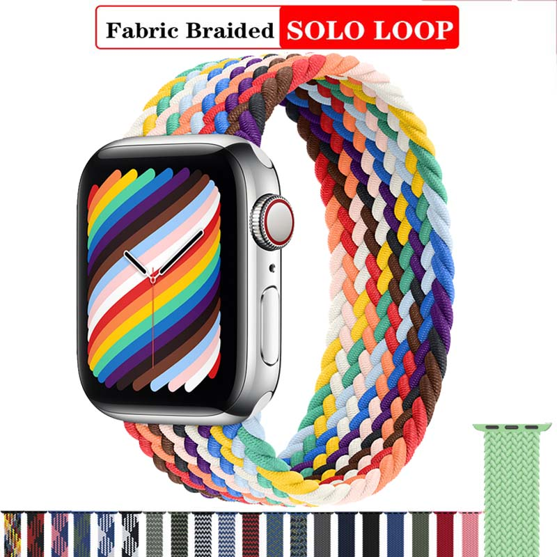 Solo Nylon Braid Strap for Apple Watch Band 6 se 5 4 3 44mm 40mm 38mm 42mm Elastic Sports Bracelet for IWatch Series 6 5 4 3 2 1
