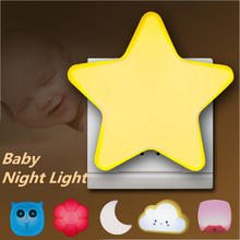 LED Mini Star Light Sensor Control Night Plug-in Dark Baby Sleeping Bedside Lamps Lights Dorpshipping