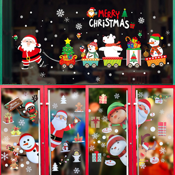 Merry Christmas Wall Stickers Cute Santa Claus Snowflake Elk Window Glass Stickers For New Year 2021 Xmas Party Home Wall Decals 2020 merry christmas wall stickers window glass festival wall decals santa murals new year christmas decorations for home decor