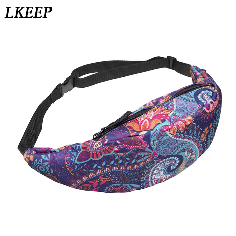 Fashion National Printing Waist Packs Bags Belt Fanny Pack Female Male Pouch Bags Cell Phone Pockets Unisex Waist Bag