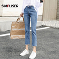 Zerrissene Jeans Frauen Knöchel Länge Capri Hosen Hohe Stretch Denim Blau Schwarz Grau Hose Femme Pantalon Große Größen 32 Mom jeans
